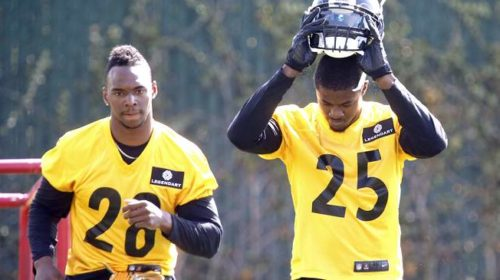 The rookie secondary of the Pittsburgh Steelers Artie Burns and Sean Davis